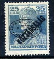 DEBRECEN 1919 25f Karl Köztarsasag With Black Overprint MNH / **   Michel 59b - Debreczen