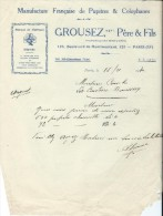 Lettre De Commande/Fabrique D´instruments De Musique/GROUSEZ Pére Et Fils /Paris/Courbe/La Couture/Eure/1930 PART147 - Autres