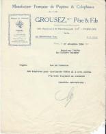 Lettre De Commande/Fabrique D´instruments De Musique/GROUSEZ Pére Et Fils /Paris/Courbe/La Couture/Eure/1930 PART148 - Musique & Instruments