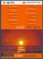 Calendar Year 2000 From New Zealand Post With Stamp Issue Dates, Calendario Anno 2000 - Calendari
