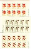 Bulgaria MNH Scott #1183-#1190 Set Of 8 Mushrooms Imperf Blocks Of 10 Denominations In Dark Green - Neufs