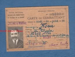 Carte Ancienne Du Combattant - Poilu Emile MACé De SAINT COLOMBE ( Seine Et Marne ) - Né à ST Rémy De La Vanne - 1933 - Vieux Papiers