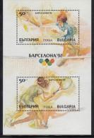 Bulgaria MNH Scott #3550 Souvenir Sheet Of 2 Different 50s Tennis - 1992 Summer Olympics Barcelona - Bulgarie