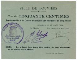 1914 // Louviers // 50 Centimes - Bons & Nécessité