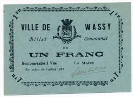 1914 - 1920 // Wassy // Un Franc - Bons & Nécessité
