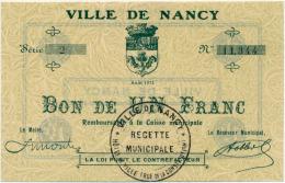 1914 - 1920 //  Nancy // 1 Franc - Bons & Nécessité