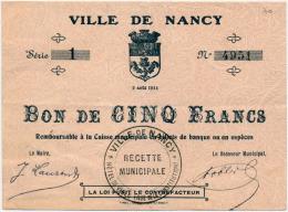 1914 - 1920 // Nancy // 5 Francs - Bons & Nécessité