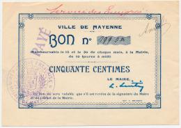 1914 - 1920 // Mayenne // 50 Centimes - Bons & Nécessité