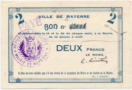 1914 - 1920 // Mayenne // Deux Francs - Bons & Nécessité