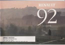 Dépliant Gamme Renault 1992,Clio, R19 Cabriolet, Chamade, R21 Nevada, R25, Espace, Alpine, - Publicités