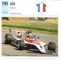 Fiche  -  Voitures De Course Formula 2  -  AGS JH18  - 1981  -  Pilote Richard Dallest   -  Carte De Collection - Grand Prix / F1