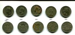 Lot De5 Pièces De 2 Shillings Différentes - 1902-1971 : Monete Post-Vittoriane