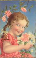 ENFANTS - LITTLE GIRL - MAEDCHEN -  Jolie Carte Fantaisie Portrait Fillette Et Fleurs - Gi/bi - Portraits