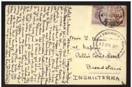 SORRENTO - NAPOLI - 1924 - DESERTO - TIMBRO DI PARTENZA DI ASSISI HOTEL ALBERGO SUBASIO. INUSUALE COMBINAZIONE - Napoli