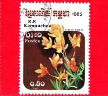 KAMPUCHEA - Cambogia - 1985 - Fiori - Flowers - Fleurs - Crocus Aureus - 0.80 - Kampuchea