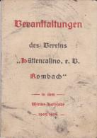Rombas Calendrier Des Evenements Hiver 1905 1906 D 1 Club Periode Allemande - Saisons & Fêtes