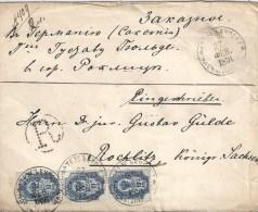 RUSSIE  Lettre Chargée Recommandée Arrivée à Rocklitz Le 15 Mars 1891 - 1857-1916 Empire