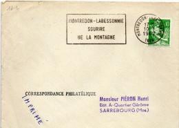 """Lettre Montredon Labessonnie  (Tarn) Flamme """"sourire De La Montagne"""" / Moissonneuse (YT 1231) - 1961-...."""