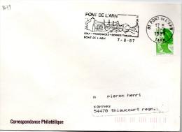 """Lettre  Pont De L'Arn  (Tarn) Flamme """"Golf Promenades Bonnes Tables  """" /  Liberté De Delacroix (YT 2424)  Idem Au Verso - Postmark Collection (Covers)"""