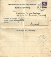 "Schätzungsauszug   ""Brandversicherungsanstalt Des Kantons Bern""          1931 - Covers & Documents"