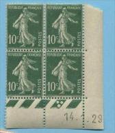 Semeuse 10 C. Vert En Bloc De 4 Coin Daté - 1906-38 Semeuse Camée