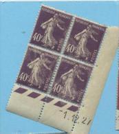Semeuse 40 C. Violet En Bloc De 4 Coin Daté - 1906-38 Säerin, Untergrund Glatt