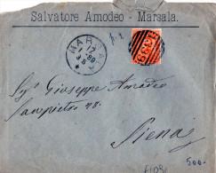 """BUSTA POSTALE PUBBLICITARIA-MARSALA-DITTA SALVATORE AMODEO-17-1-1889-ANNULLO A BARRE """"1339"""" - 1878-00 Humbert I"""