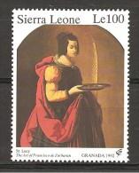 SIERRA LEONE - 1992 F. ZURBARAN  S. Lucia (museo Belle Arti, Chartres) Nuovo**  MNH - Religion