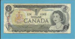 CANADA - 1 DOLLAR - ( 1973 ) - Pick 85.a - Sign. Lawson-Bouey - 2 Scans - Canada