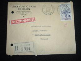 LR TP RUGBY 50F OBL. 2-11-1956 DIJON REPUBLIQUE COTE D'OR (21) + GRANDS CHAIS DE DIJON + GRIFFE - Marcophilie (Lettres)