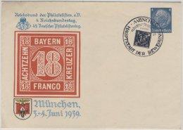 DR - 45. Dt. Philatelistentag München 1939, 4 Pfg. Hindenburg Privat-GA-Umschlag - Ganzsachen