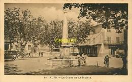 Cpa 83 Aups, Le Cours Et La Mairie, Animée, Tacots... Carte Peu Courante - Aups
