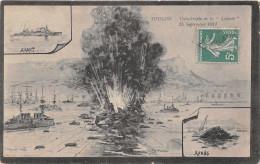 """NAVIRE DE GUERRE -   Explosion Du """" LIBERTE """" -Sept 1911 -  """" Avant """"  """" Apres """"  Edts Degrange - Warships"""