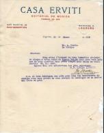 Lettre//Fabrique D´Instrument De Musique/ Casa ERVITI/San Sebastian/Espagne/Courbe /La Couture/1928     PART151 - Autres