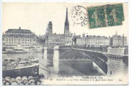 76 ROUEN Le Pont Boieldieu Et Le Quai Saint Sever 1917 - Rouen
