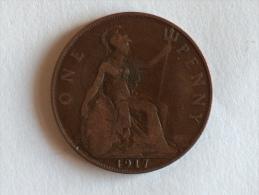 Grande-Bretagne 1 Penny 1917 - 1902-1971 : Monnaies Post-Victoriennes