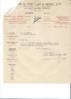 Lettre//Fabrique D´Instrument De Musique/ E. DALLAS & Sons/London/Courbe /La Couture Boussey/Eure/1927    PART153 - Music & Instruments