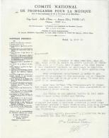 Lettre//Fabrique D´Instrument De Musique/Comité National De Propagande/Courbe /La Couture Boussey/Eure/1935   PART154 - Music & Instruments