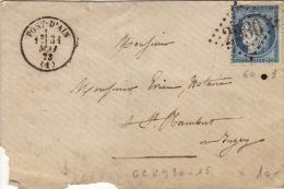 AIN - Pont D'Ain- Enveloppe  -CAD- Type16-Oblitération Grand Chiffre N°2930 -1873 - Marcophilie (Lettres)