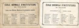 2 Petits Cartons (7/10 Cm) - Promotions De L'école Normale Instituteur De Toulouse 1923 1926 - Non Classés
