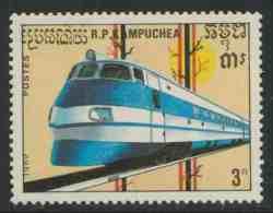 Cambodia Kampuchea Kambodscha 1989 Mi 1008 YT 865 ** ETR 401 Pendolino Express Train (1976), Italy / Schienenfahrzeuge - Treinen