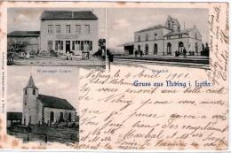 57 NEBING  - Carte Trois Vues  - église  -  Restaurant - Gare   - LOTHRINGEN - Autres Communes