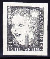 Bickel Probedruck - Pro Juventute 1956 Essay Im Stahlstich Kindermotiv Aus Bickelarchiv Schwarz Auf  Ausschusspapier - Neufs
