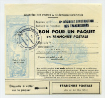 Bon Pour Un Paquet. 8ème Régiment D'instruction Des Transmissions. Non Utilisé. - Franchise Stamps