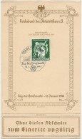 Germany, Official Souvenir Card With FDC Cancel, Tag Der Briefmarke 1941 - Germania