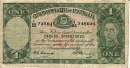 AUSTRALIA 1 POUND GREEN KGVI HEAD 4TH SIGNATURE LAST ISSUEBACK MOTIF ND(1952) F+ CV$80 DARK BACK W.1966 READ DESCRIPTION - 1938-52