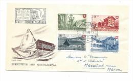 NEUCHATEL 1948, Cachet Expo Centenaire, Série Complète PRO PATRIA , Lettre Illustrée Fête Nationale, Recommandée Pour Le - Storia Postale