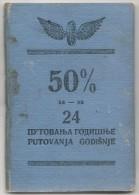 YUGOSLAVIA  1937 RAIL PASS PASSPORT Issued In ZAGREB To 1941 - Vf RAILWAY REVENUE STAMPS - Documentos Históricos