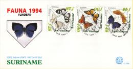Republiek Suriname - FDC176A/B - Fauna - Surinaamse Vlinders - Z 808-819 - Vlinders
