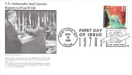 US  -  B´nai B´rith Philatelic  FDC  -  US Ambassador Saul Linowitz Reports  -  Premier Jour D´Emission - Jewish